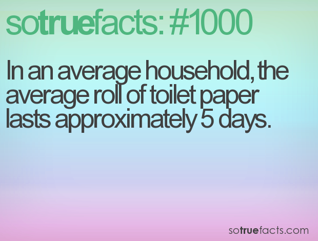 In an average household, the average roll of toilet paper lasts approximately 5 days.