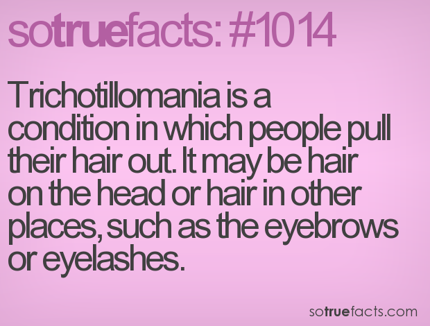 Trichotillomania is a condition in which people pull their hair out. It may be hair on the head or hair in other places, such as the eyebrows or eyelashes.