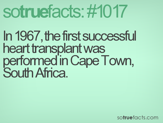 In 1967, the first successful heart transplant was performed in Cape Town, South Africa.