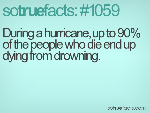During a hurricane, up to 90% of the people who die end up dying from drowning.