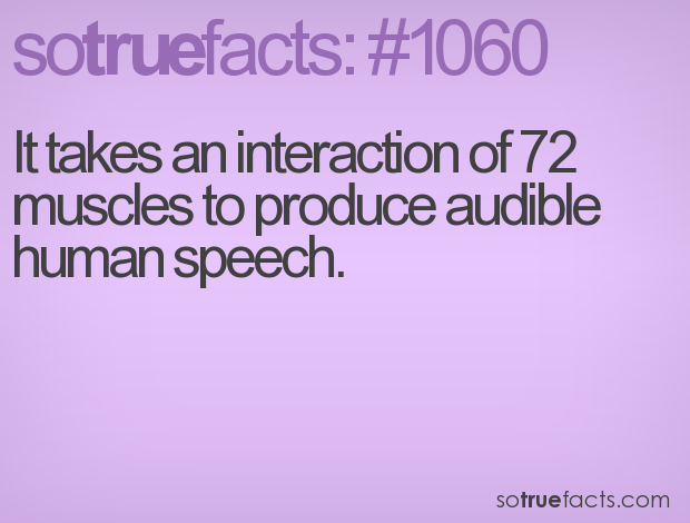 It takes an interaction of 72 muscles to produce audible human speech.