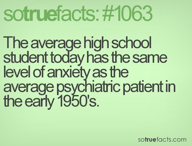 The average high school student today has the same level of anxiety as the average psychiatric patient in the early 1950's.