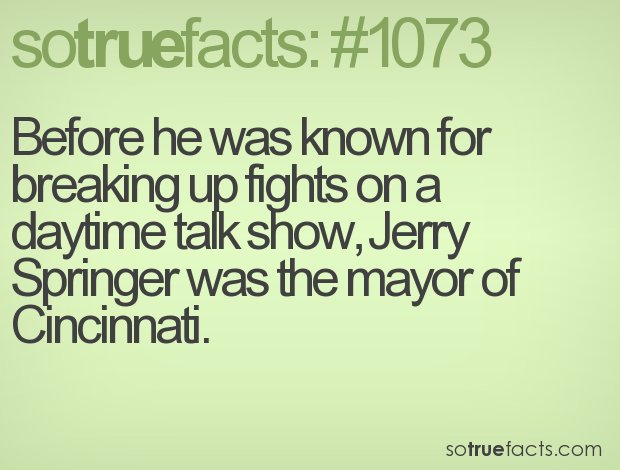 Before he was known for breaking up fights on a daytime talk show, Jerry Springer was the mayor of Cincinnati.