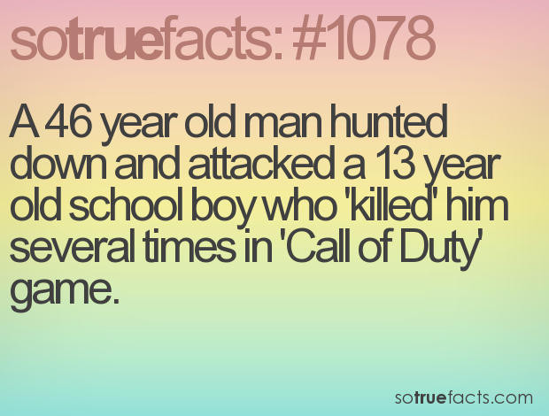 A 46 year old man hunted down and attacked a 13 year old school boy who 'killed' him several times in 'Call of Duty' game.