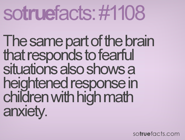 The same part of the brain that responds to fearful situations also shows a heightened response in children with high math anxiety.