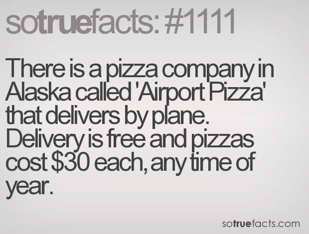 There is a pizza company in Alaska called 'Airport Pizza' that delivers by plane. Delivery is free and pizzas cost $30 each, any time of year.