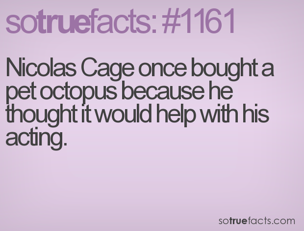 Nicolas Cage once bought a pet octopus because he thought it would help with his acting.