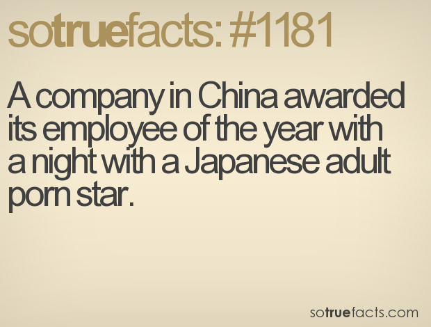 A company in China awarded its employee of the year with a night with a Japanese adult porn star.