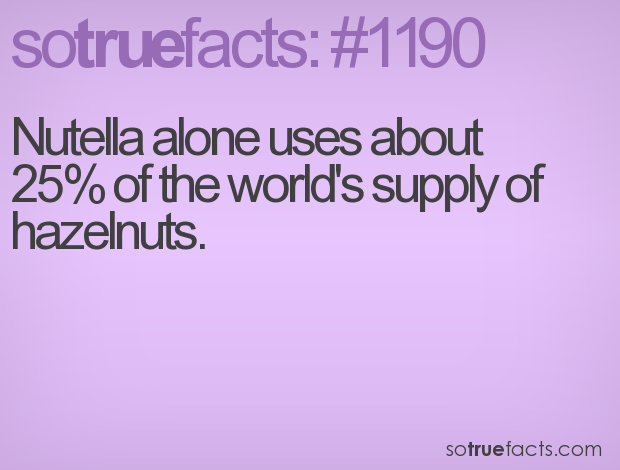Nutella alone uses about 25% of the world's supply of hazelnuts.