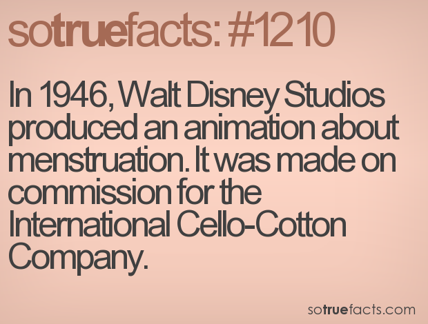 In 1946, Walt Disney Studios produced an animation about menstruation. It was made on commission for the International Cello-Cotton Company.