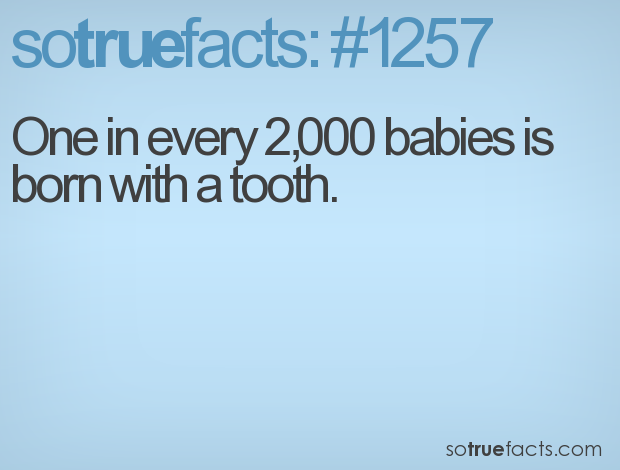 One in every 2,000 babies is born with a tooth.