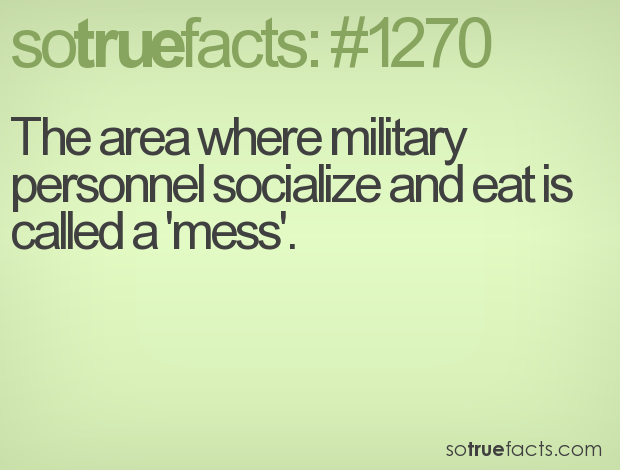 The area where military personnel socialize and eat is called a 'mess'.
