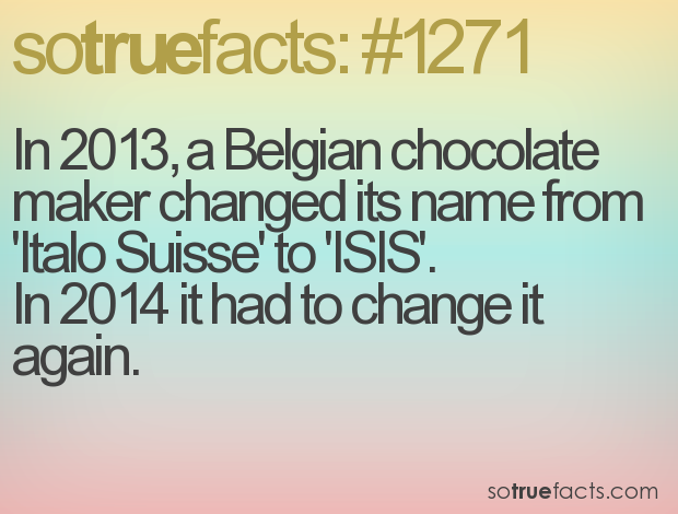 In 2013, a Belgian chocolate maker changed its name from 'Italo Suisse' to 'ISIS'. 