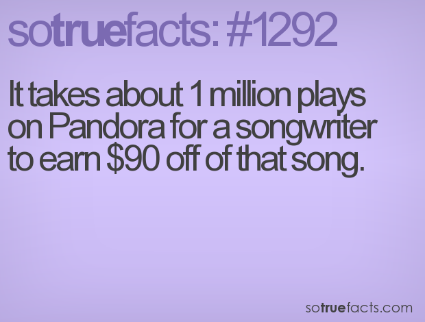 It takes about 1 million plays on Pandora for a songwriter to earn $90 off of that song.