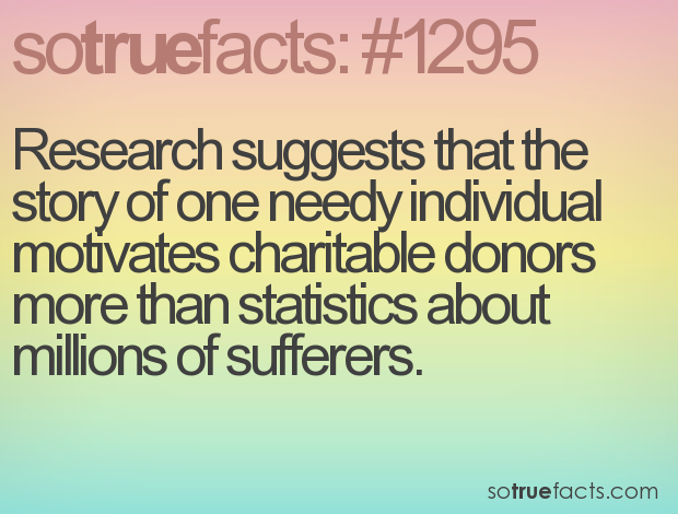 Research suggests that the story of one needy individual motivates charitable donors more than statistics about millions of sufferers.