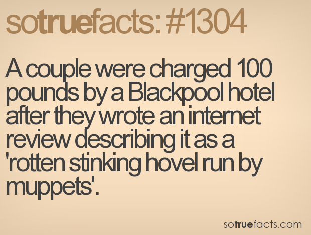 A couple were charged 100 pounds by a Blackpool hotel after they wrote an internet review describing it as a 'rotten stinking hovel run by muppets'.