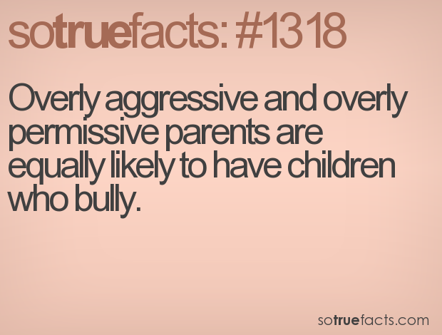 Overly aggressive and overly permissive parents are equally likely to have children who bully.