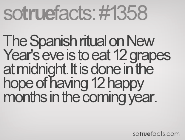 The Spanish ritual on New Year's eve is to eat 12 grapes at midnight. It is done in the hope of having 12 happy months in the coming year.