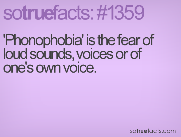 'Phonophobia' is the fear of  loud sounds, voices or of one's own voice.
