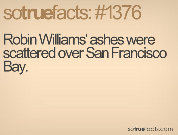 Robin Williams' ashes were scattered over San Francisco Bay.