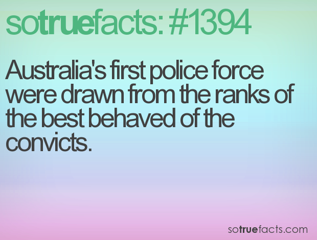 Australia's first police force were drawn from the ranks of the best behaved of the convicts.