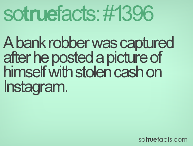 A bank robber was captured after he posted a picture of himself with stolen cash on Instagram.