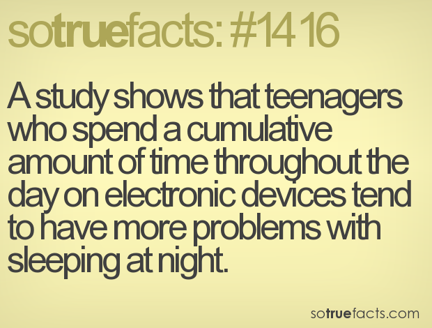 A study shows that teenagers who spend a cumulative amount of time throughout the day on electronic devices tend to have more problems with sleeping at night.