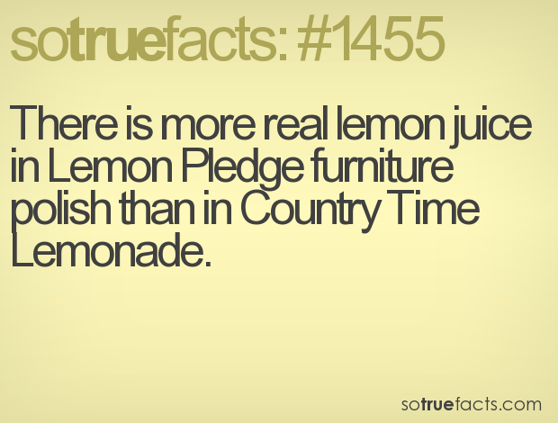 There is more real lemon juice in Lemon Pledge furniture polish than in Country Time Lemonade.