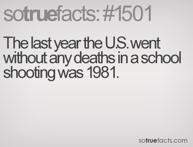 The last year the U.S. went without any deaths in a school shooting was 1981.