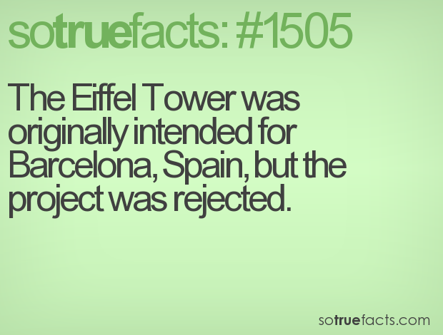 The Eiffel Tower was originally intended for Barcelona, Spain, but the project was rejected.