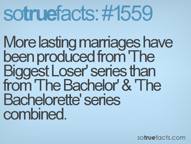 More lasting marriages have been produced from 'The Biggest Loser' series than from 'The Bachelor' & 'The Bachelorette' series combined.