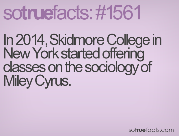 In 2014, Skidmore College in New York started offering classes on the sociology of Miley Cyrus.