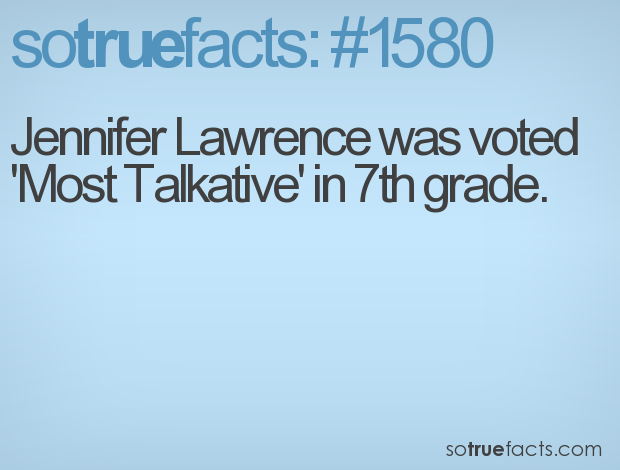 Jennifer Lawrence was voted 'Most Talkative' in 7th grade.