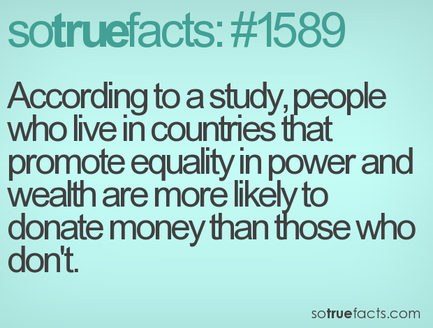 According to a study, people who live in countries that promote equality in power and wealth are more likely to donate money than those who don't.