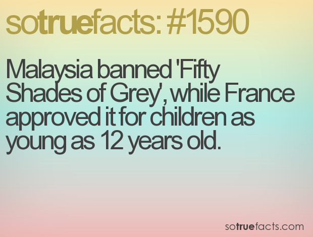 Malaysia banned 'Fifty Shades of Grey', while France approved it for children as young as 12 years old.