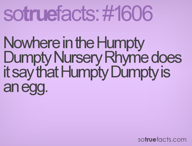 Nowhere in the Humpty Dumpty Nursery Rhyme does it say that Humpty Dumpty is an egg.