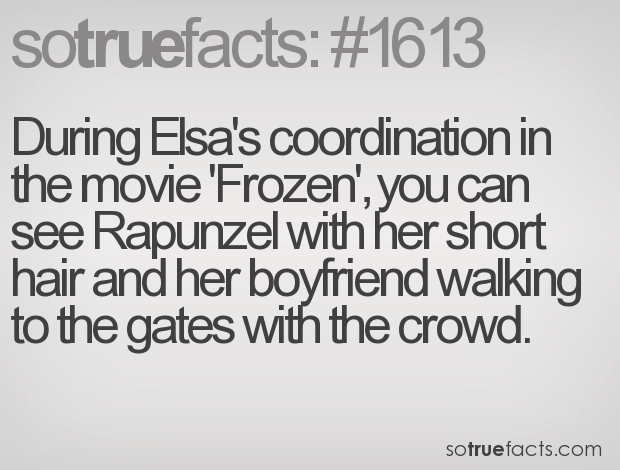 During Elsa's coordination in the movie 'Frozen', you can see Rapunzel with her short hair and her boyfriend walking to the gates with the crowd.