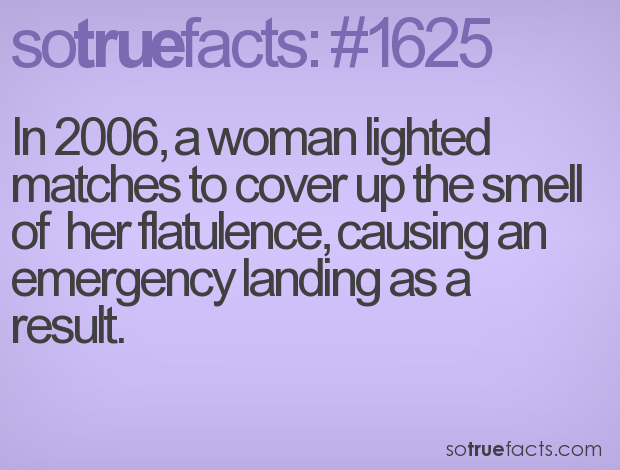 In 2006, a woman lighted matches to cover up the smell of  her flatulence, causing an emergency landing as a result.