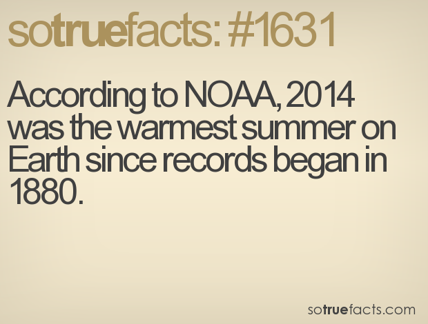 According to NOAA, 2014 was the warmest summer on Earth since records began in 1880.