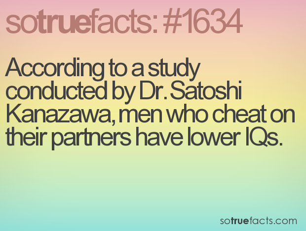 According to a study conducted by Dr. Satoshi Kanazawa, men who cheat on their partners have lower IQs.
