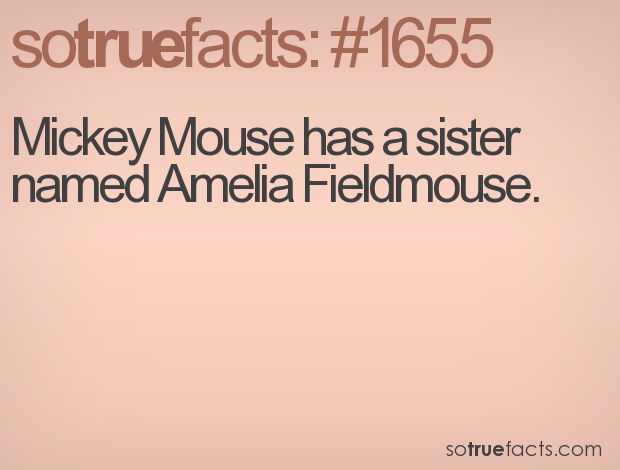 Mickey Mouse has a sister named Amelia Fieldmouse.