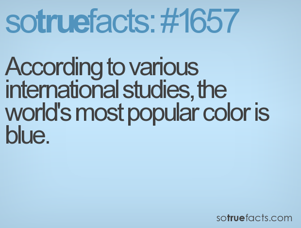 According to various international studies, the world's most popular color is blue.