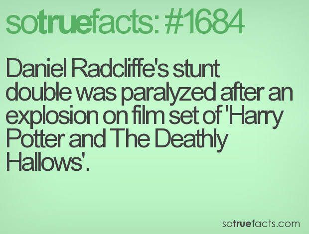 Daniel Radcliffe's stunt double was paralyzed after an explosion on film set of 'Harry Potter and The Deathly Hallows'.