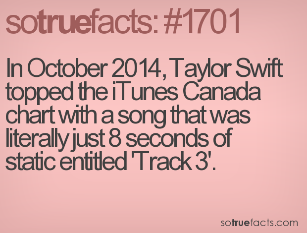 In October 2014, Taylor Swift topped the iTunes Canada chart with a song that was literally just 8 seconds of static entitled 'Track 3'.