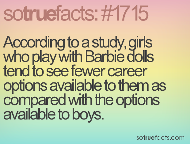 According to a study, girls who play with Barbie dolls tend to see fewer career options available to them as compared with the options available to boys.
