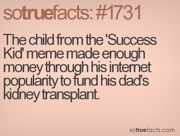 The child from the 'Success Kid' meme made enough money through his internet popularity to fund his dad's kidney transplant.