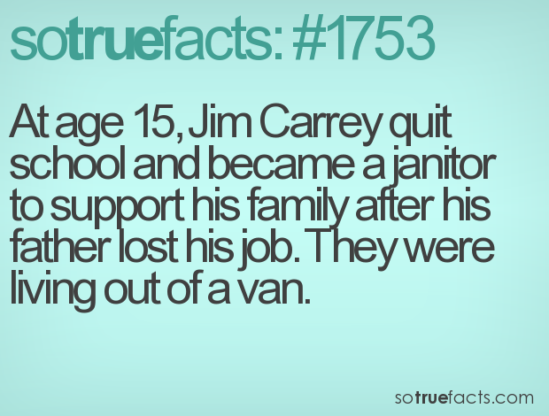 At age 15, Jim Carrey quit school and became a janitor to support his family after his father lost his job. They were living out of a van.