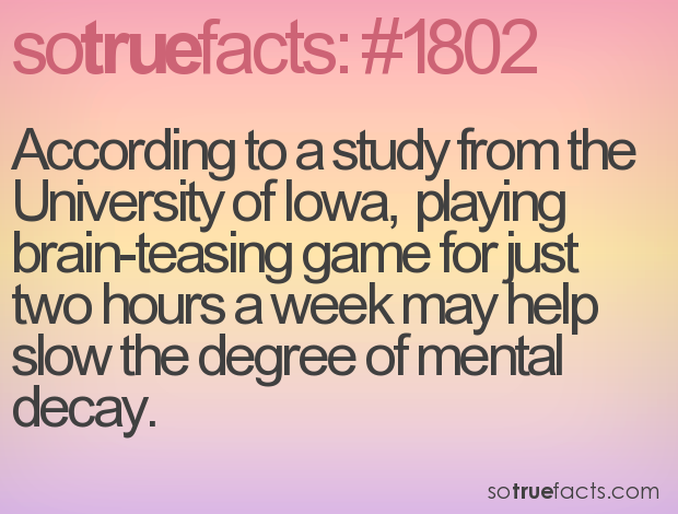 According to a study from the University of Iowa,  playing brain-teasing game for just two hours a week may help slow the degree of mental decay.