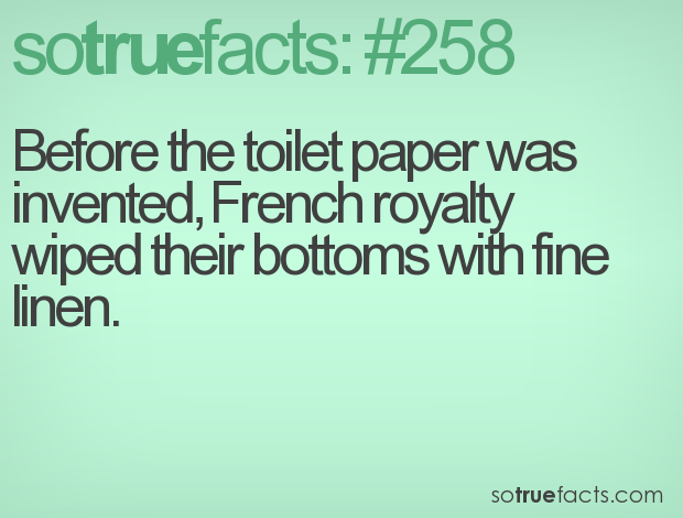 Before the toilet paper was invented, French royalty wiped their bottoms with fine linen.