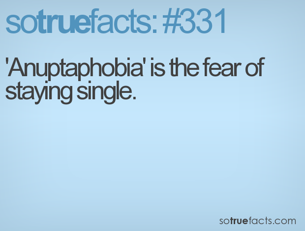 'Anuptaphobia' is the fear of staying single.